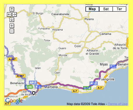 Map showing how to get to Algodonales from Malaga airport following the coastal road